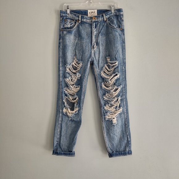 ONE by One Teaspoon Super Baggies Ripped Jeans 27